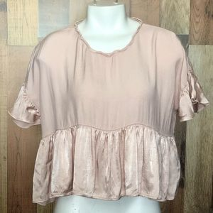 Zara cropped peplum blouse sz medium